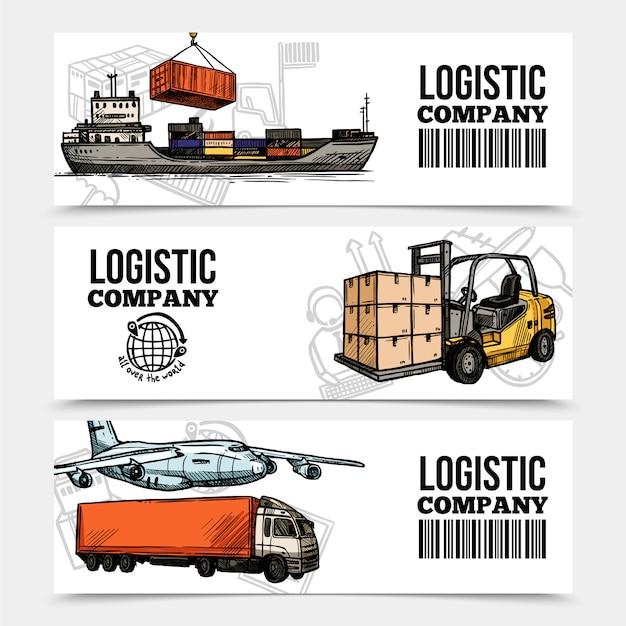 Logistieke horizontale banners Gratis Vector