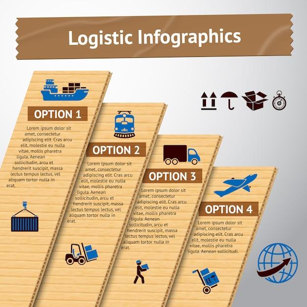 Logistieke infographic sjabloon Gratis Vector