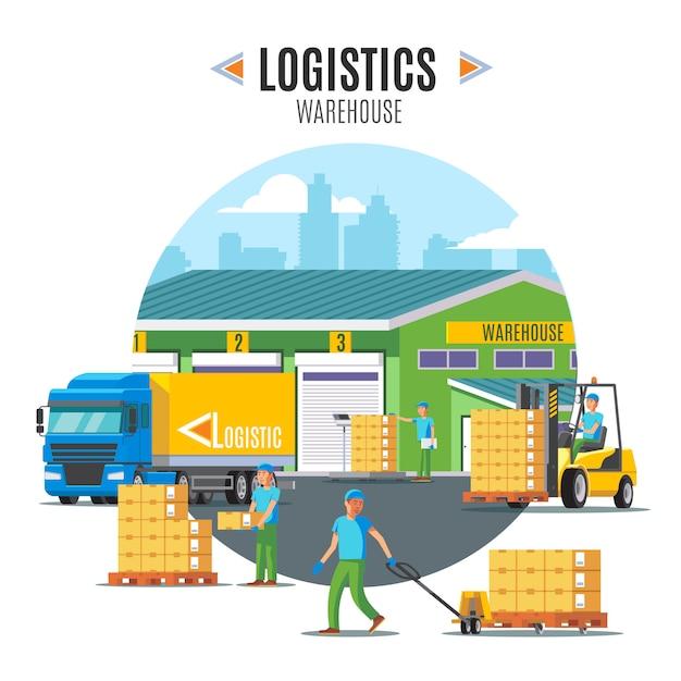 Logistieke magazijn illustratie Gratis Vector