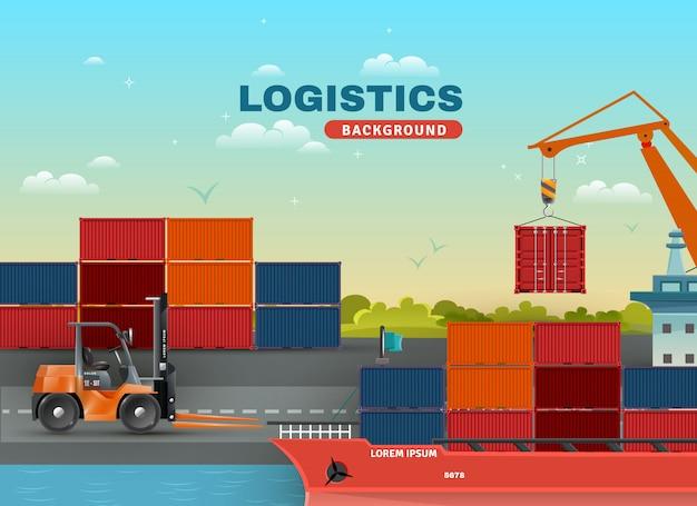 Logistieke zeevrachtachtergrond Gratis Vector