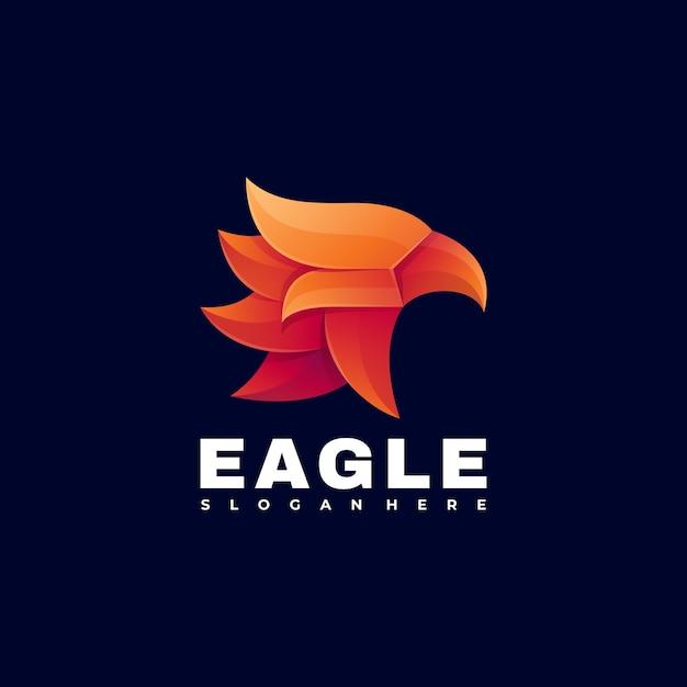Logo afbeelding eagle kleurovergang kleurrijke stijl. Premium Vector