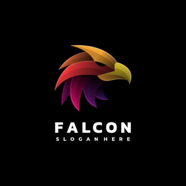 Logo afbeelding falcon kleurovergang kleurrijke stijl. Premium Vector