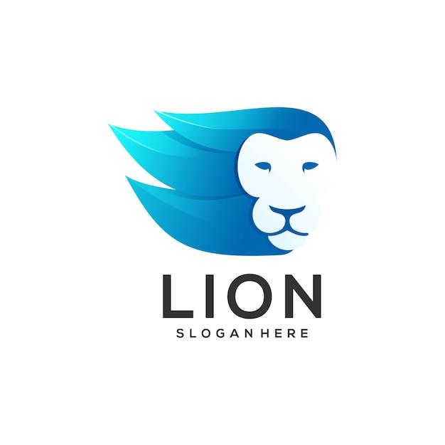 Logo afbeelding hoofd leeuw verloopstijl Premium Vector