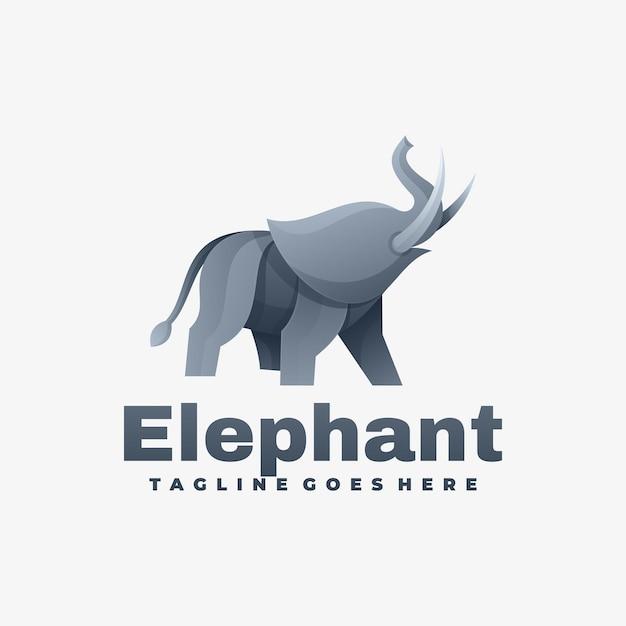 Logo afbeelding olifant kleurovergang kleurrijke stijl. Premium Vector