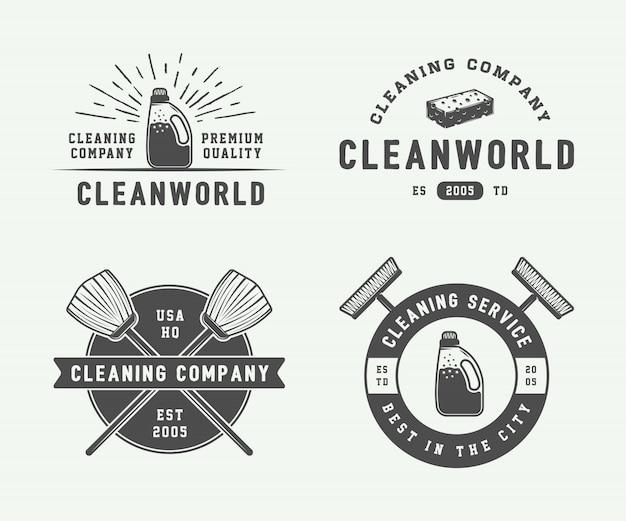 Logo badges, emblemen reinigen Premium Vector