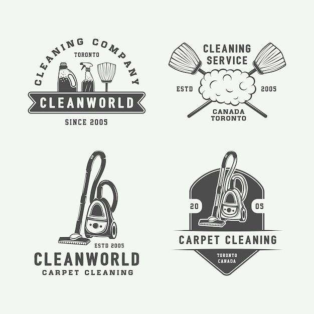 Logo badges, emblemen schoonmaken Premium Vector