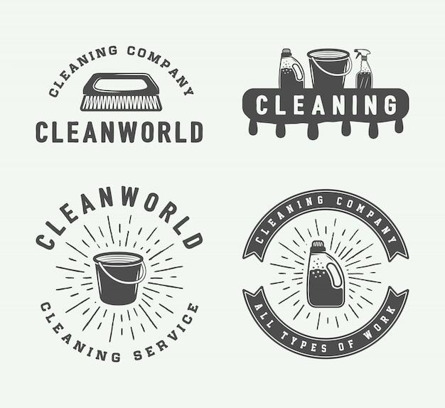 Logo-badges schoonmaken Premium Vector