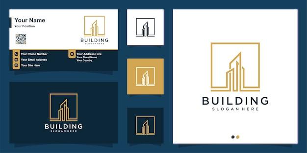 Logo bouwen met moderne kunststijl en visitekaartje ontwerpsjabloon Premium Vector