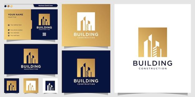 Logo bouwen met nieuw concept lijn kunststijl en visitekaartje ontwerpsjabloon, gebouw, constructie, landgoed, nieuw concept Premium Vector