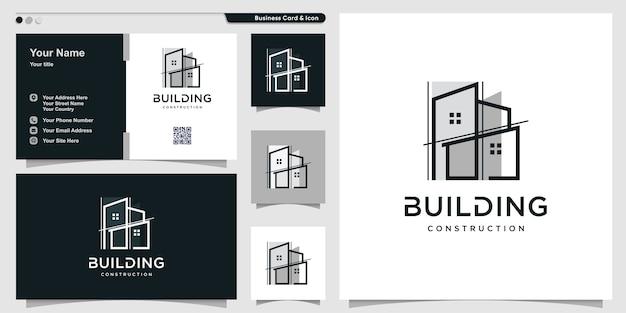 Logo bouwen met unieke lijnstijl en visitekaartjeontwerp Premium Vector