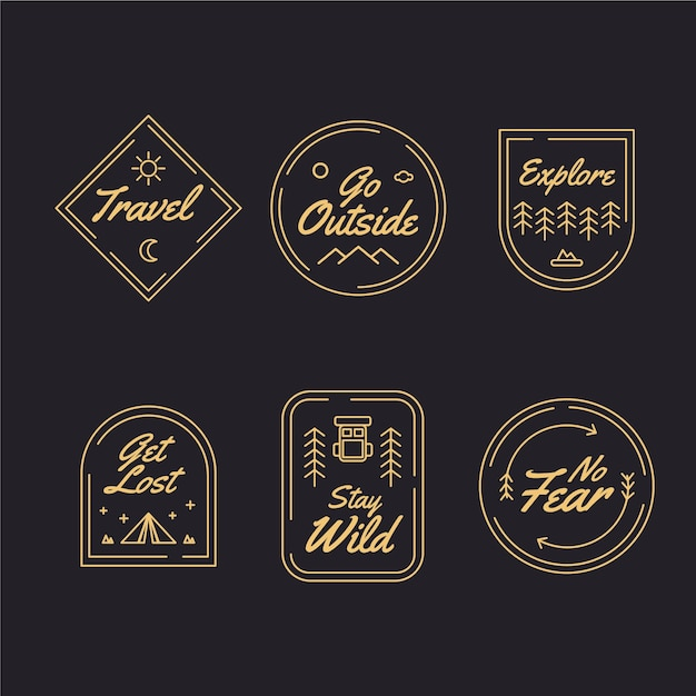 Logo collectie reizen Premium Vector