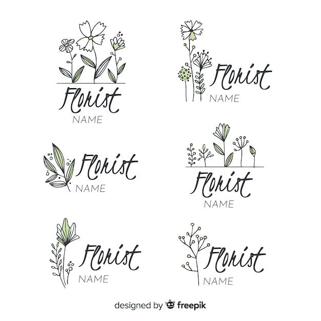 Logo collectie voor bruiloft bloemist Gratis Vector