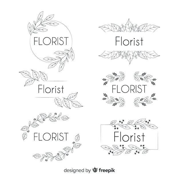 Logo-collectie voor bruiloft bloemist Gratis Vector
