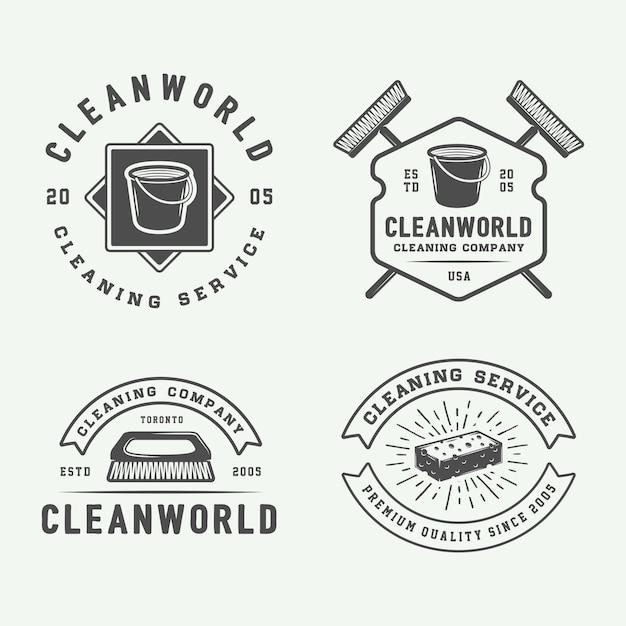 Logo emblemen schoonmaken Premium Vector