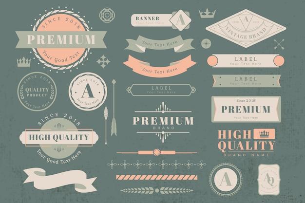 Logo en banner ontwerpelementen Gratis Vector
