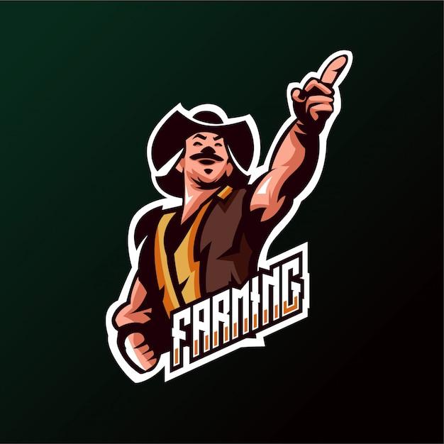 Logo farming cowboys esports gaming Premium Vector