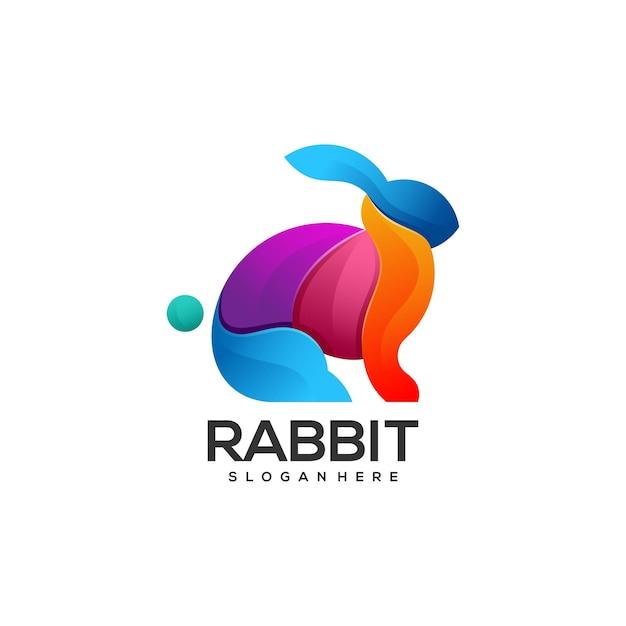Logo illustratie konijn kleurovergang kleurrijke stijl Premium Vector