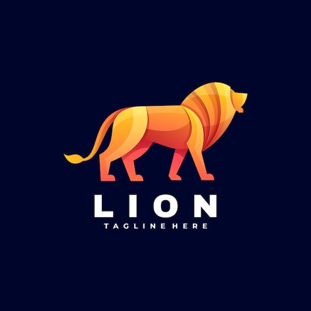 Logo illustratie lion gradient kleurrijke stijl. Premium Vector