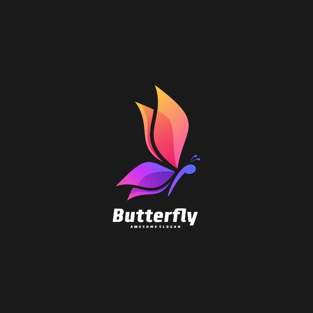 Logo illustratie vlinder elegant kleurverloop kleurrijke stijl Premium Vector