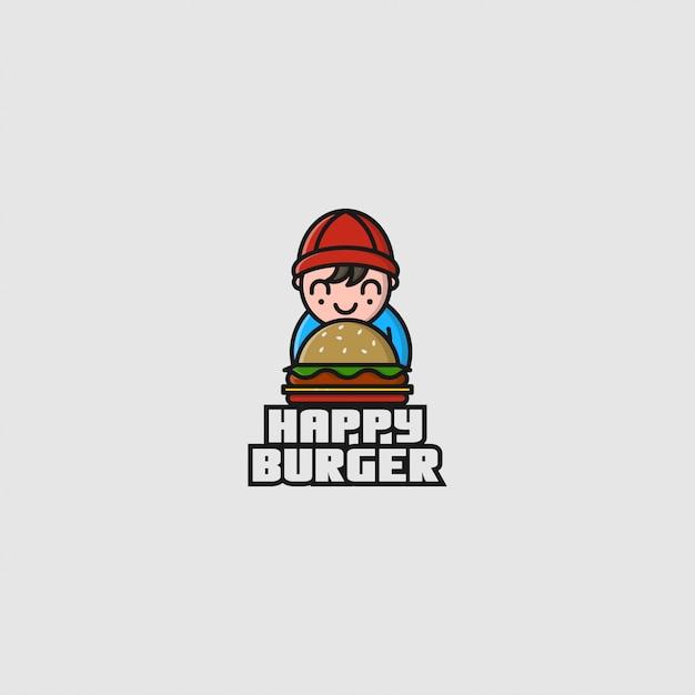 Logo kleine jongen en hamburger Premium Vector