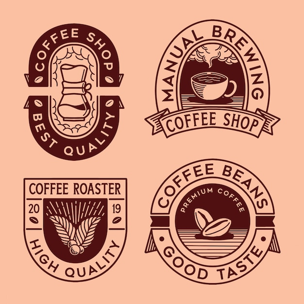 Logo koffiecollectie Premium Vector
