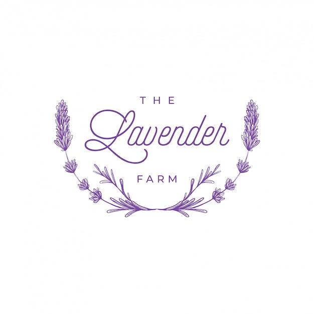 Logo lavendel bloemen Premium Vector