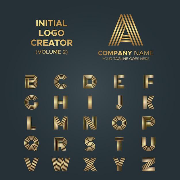 Logo-maker, van a tot z letters line art stripe luxe logo-collectie Premium Vector