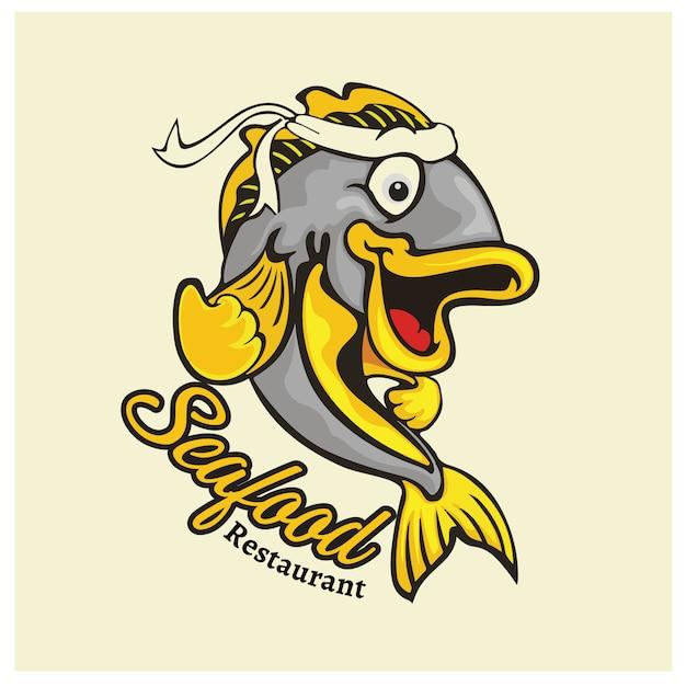 Logo mascot voor visrestaurant Premium Vector