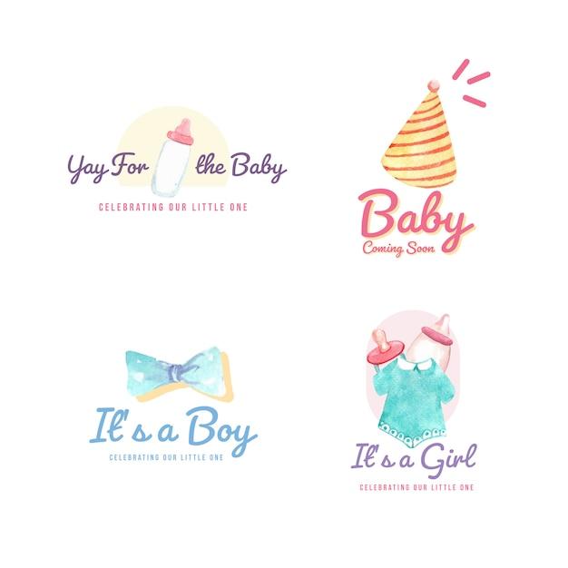 Logo met baby shower ontwerpconcept voor merk en marketing aquarel vectorillustratie. Gratis Vector
