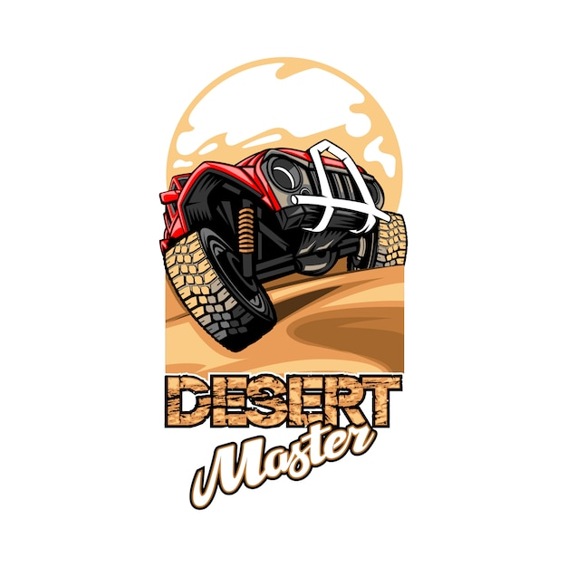 Logo met de naam desert master met suv die de heuvels overwint. Premium Vector