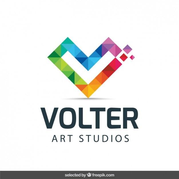 Logo met een initiële gemaakt met kleurrijke pixels Gratis Vector