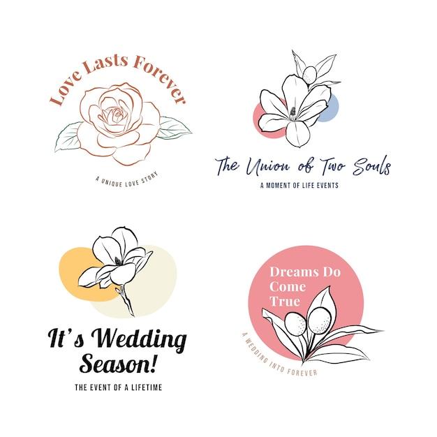 Logo met huwelijksceremonie voor branding en pictogram Gratis Vector