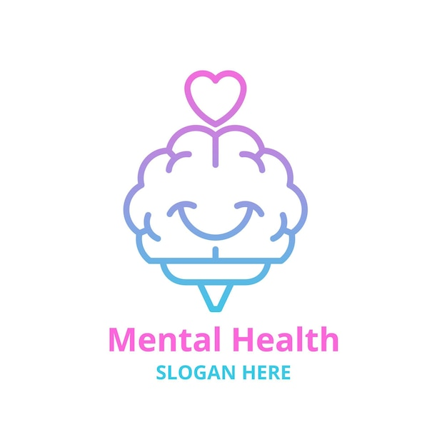 Logo met kleurovergang geestelijke gezondheid met slogan Gratis Vector