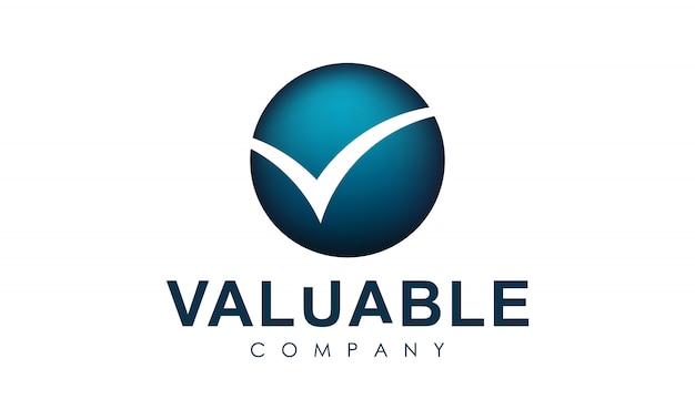 Logo met letter v op cirkel. controleer logo Premium Vector