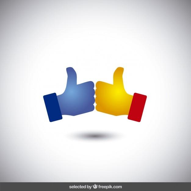Logo met twee duimen omhoog Gratis Vector