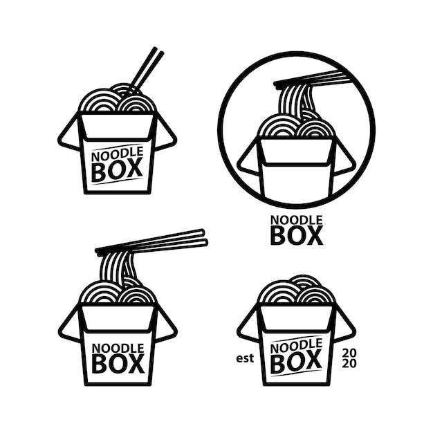 Logo noodle box concept sjabloon Premium Vector