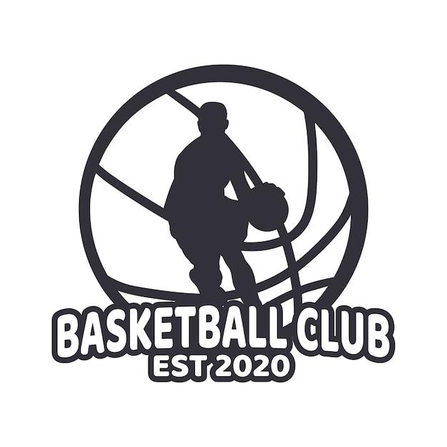 Logo ontwerp basketbalclub met man spelen basketbal zwart en wit eenvoudig Premium Vector