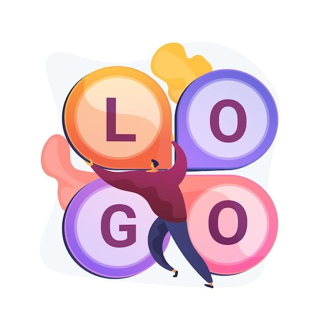 Logo ontwerp. bedrijfsslogan creëren, corporate branding, identiteit. grafisch ontwerper plat karakter onderzoekend concurrerend logo-idee. Gratis Vector