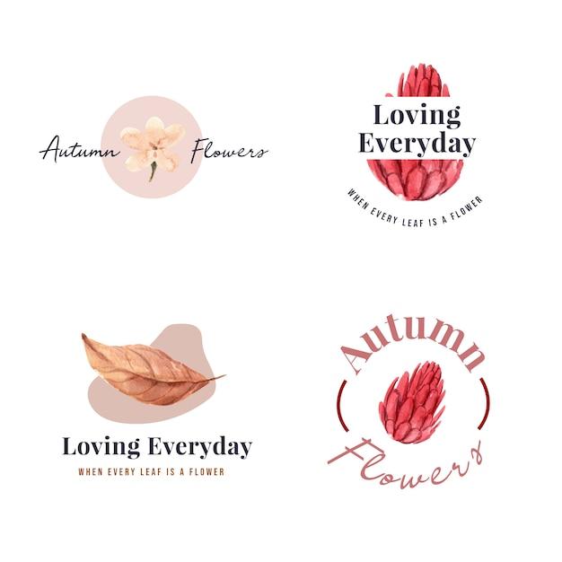 Logo ontwerp met herfst bloem concept voor merk en marketing aquarel illustratie. Gratis Vector