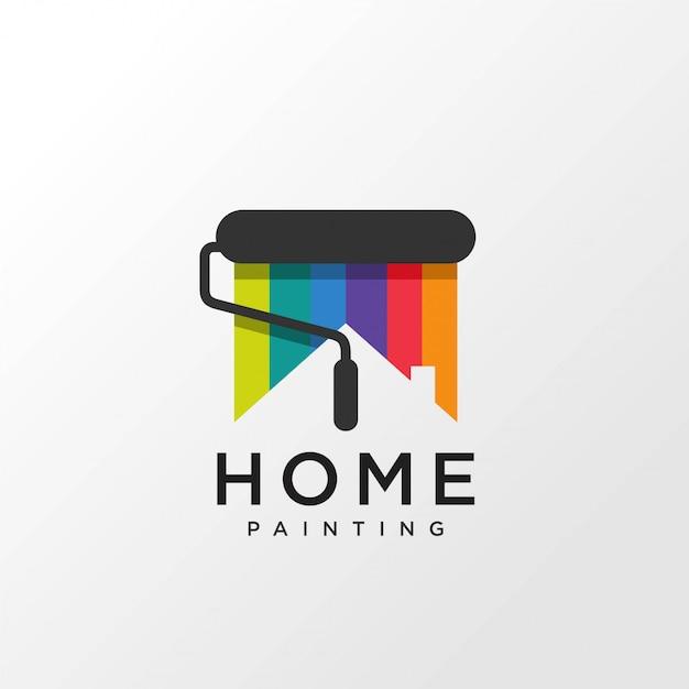 Logo ontwerp met huisconcept regenboogkleur schilderen, Premium Vector