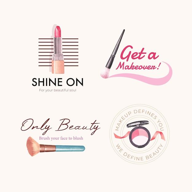 Logo ontwerp met make-up concept voor branding en marketing aquarel. Gratis Vector
