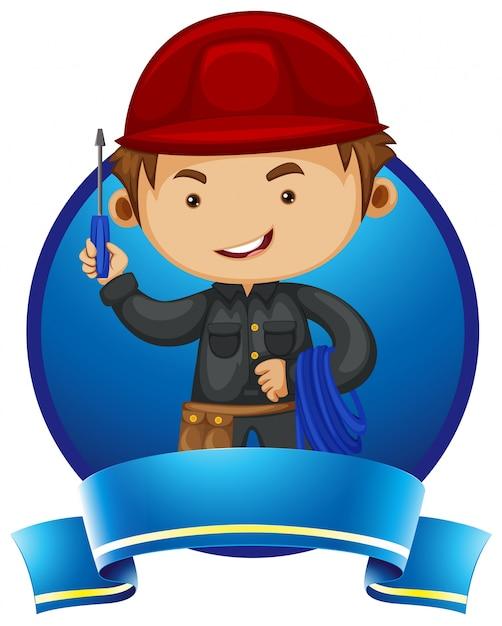 Logo ontwerp met reparateur en hulpmiddelen Gratis Vector