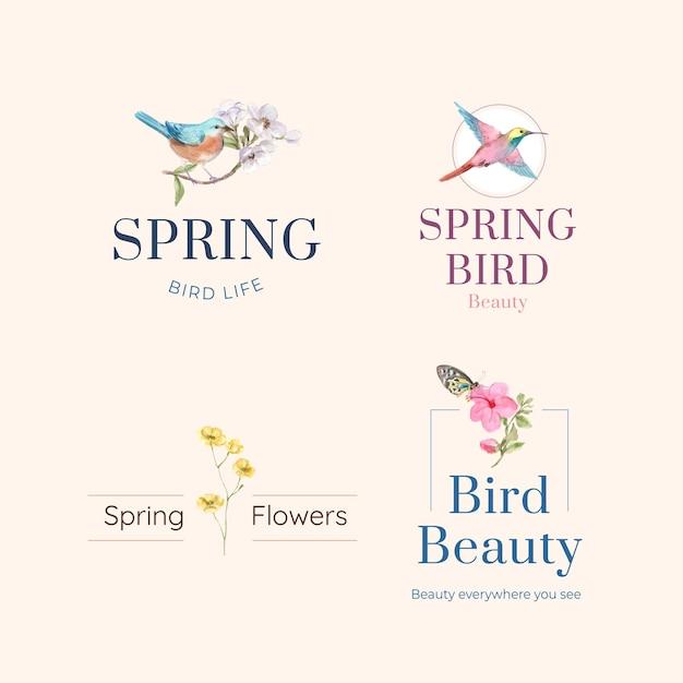 Logo ontwerp met vogels en lente concept Gratis Vector