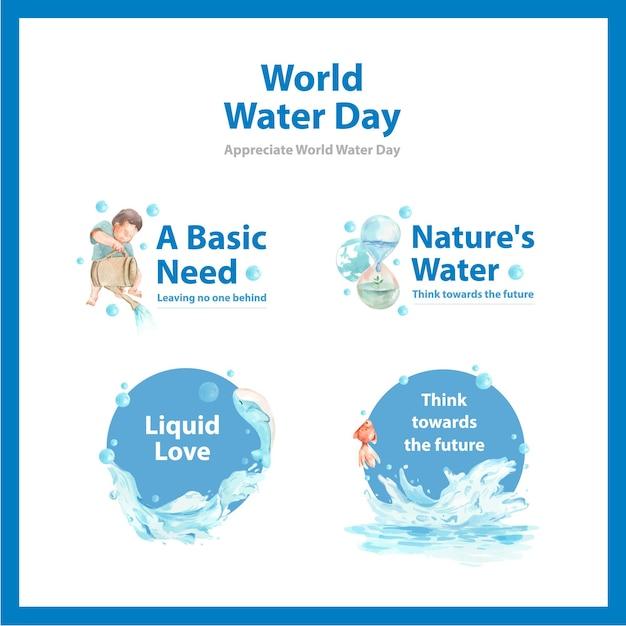 Logo ontwerp met wereld water dag concept aquarel illustratie Gratis Vector