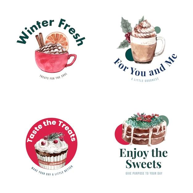 Logo ontwerp met wintersnoepjes in aquarel stijl Gratis Vector