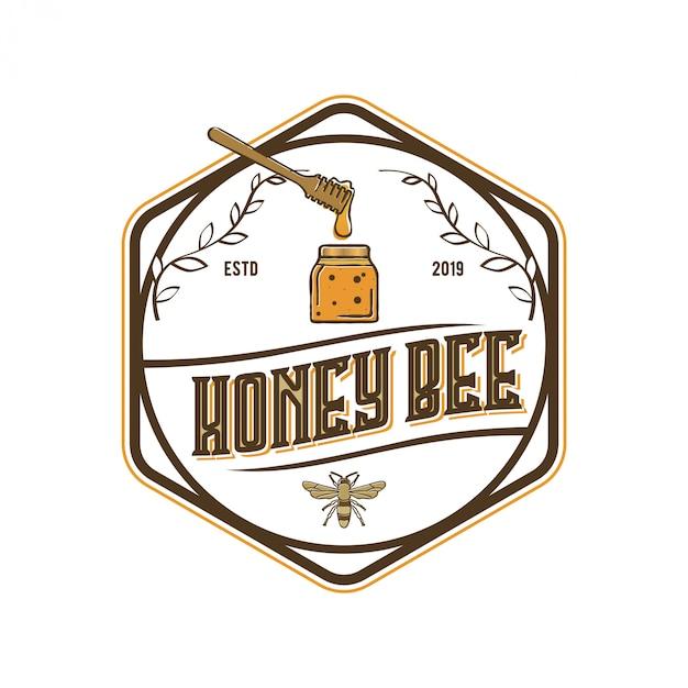 Logo ontwerp voor honingproducten of honingbijkwekerijen Premium Vector