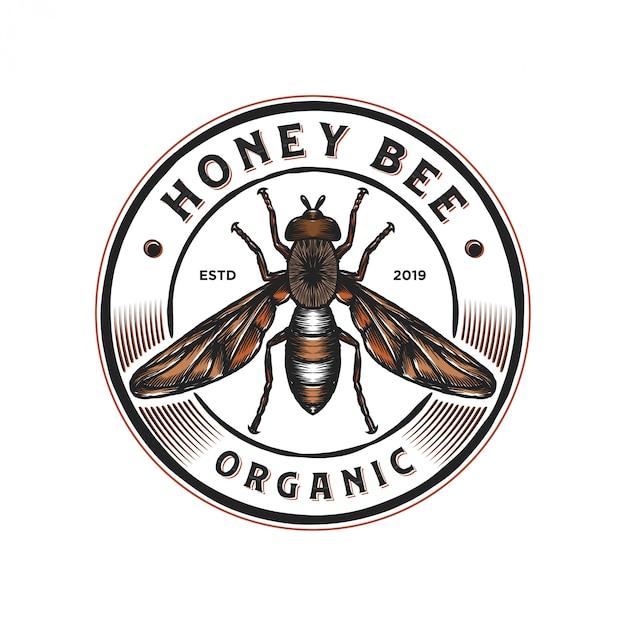 Logo-ontwerp voor honingproducten of honingbijkwekerijen Premium Vector
