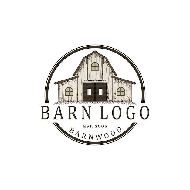 Logo ontwerp voor schuurhout Premium Vector