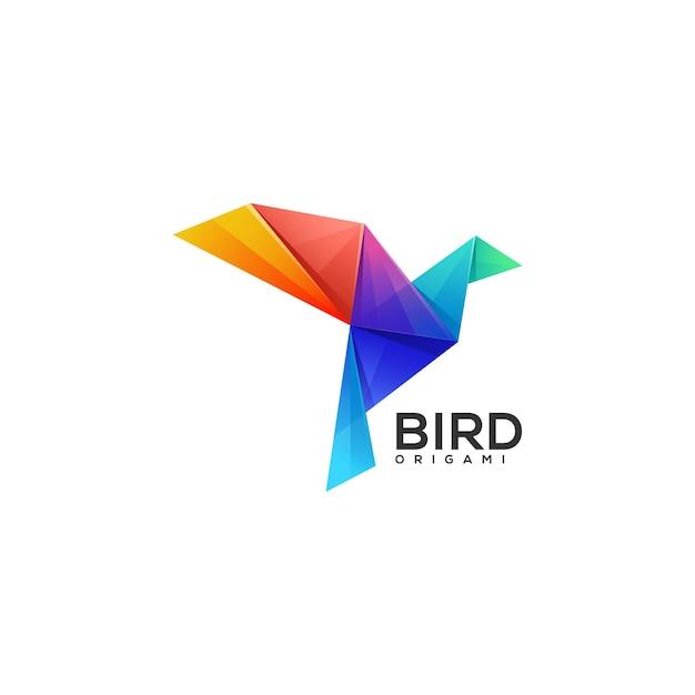 Logo origami vogel kleurovergang kleurrijke stijl Premium Vector