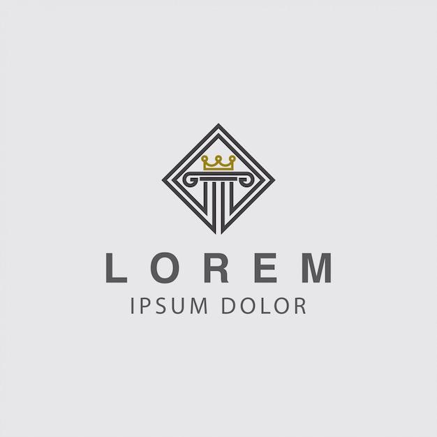 Logo pijler en kroon concept Premium Vector